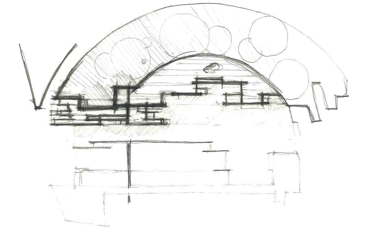 A. Di Luzio e M. Gaeta, L'Aquila, schizzo preliminare di parte del progetto. (copyR. Manfredo Gaeta e Annalisa Di Luzio)
