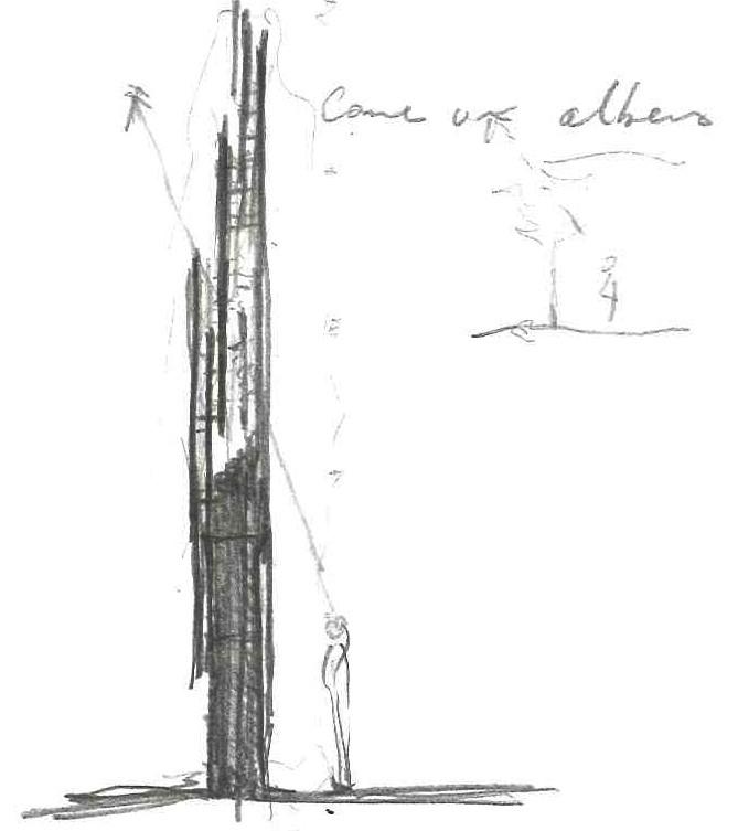 A. Di Luzio e M. Gaeta, L'Aquila, schizzo preliminare del progetto : obelisco. (copyR. Manfredo Gaeta e Annalisa Di Luzio)