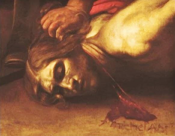 Caravaggio-Decollazione-del-Battista firma